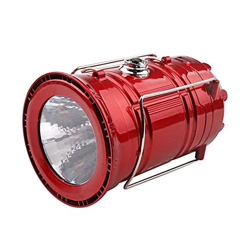 Lámpara solar LED de camping XVZ, portátil, linterna de camping, linterna recargable USB y micro puerto, lámpara de camping IPX4, impermeable, para tienda de campaña, emergencia, senderis, color rojo