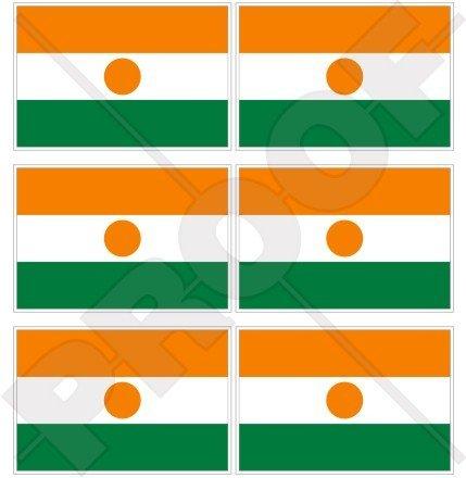 Lot de 6 mini autocollants en vinyle pour téléphone portable Motif drapeau du Niger Nigerien Afrique 40 mm
