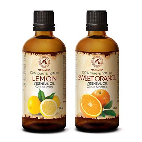 Zitronen 100ml und Orangenöl 100ml - Rein & Natürliche Ätherisches Öle für Aroma Diffuser - Aromalampe - Handmade Kosmetik -Aromatisierung des Büros