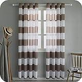 topfinel voile tende trasparenti per soggiorno cameretta pannelli finestra con anello a strisce per camera da letto cucina set da 2 pezzi, 140x260cm, marrone