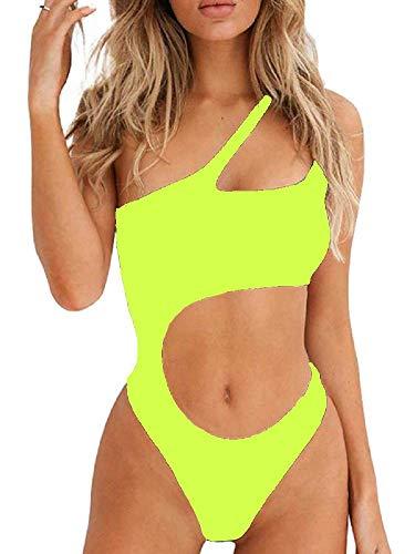 costume mare donna fluo Ducomi Joy Costume Intero Donna - Costumi da Bagno Interi - Bikini Monospalla con Cut-out in Vita