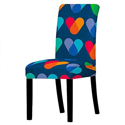 2 delar stolsöverdrag kärlek hjärta ryggstöd stol överdrag mörkblå röd universal stol överdrag stretch stol överdrag mycket lätt att rengöra och hållbar för matsal, fest, hotell