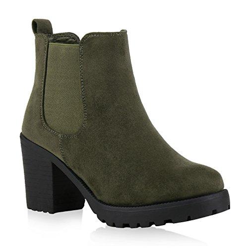 Damen Stiefeletten Chelsea Boots Profilsohle Schuhe 121517 Dunkelgrün 39 Flandell
