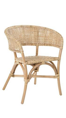 KOUBOO Cane Webbing Club & Dining, Natural Rattan Club Dining Chair, Light Brown
