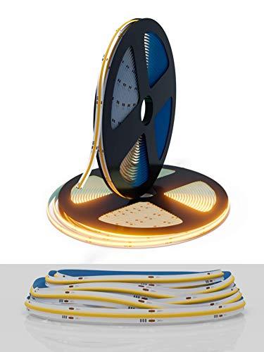COB LED Strip Warmweiss 24v dimmbar 5m 420 LEDs pro Meter inklusive Ratgeber | COB LED Strip 3000k 24v dimmbar selbstklebend | LED COB Grow Light | COB LED Streifen dimmbar warmweiß