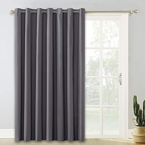 PONY DANCE Patio Door Curtain - (Wide 100 x Long 84 inches, Grey) Blackout Slider Curtains Partition Screen Wide Thermal Drapes Light Block for Sliding Door Windows, 1 Panel