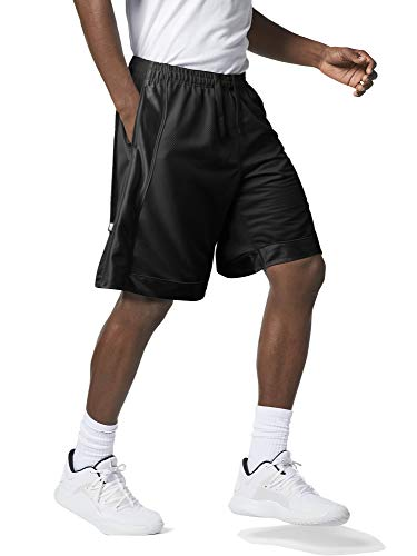 Men's Premium Heavy Mesh Basketball Shorts with Pockets (4X-Large, 1rp08_Black)