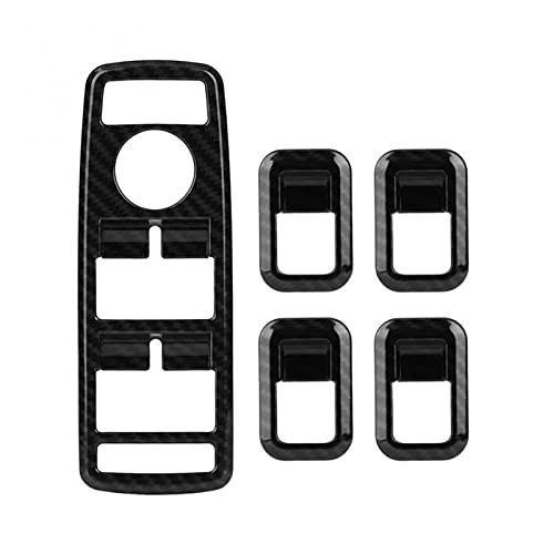 JIAYA 5pcs Car Auto Carbon Fiber Window Interruptor Interruptor de la Cubierta Fotograma de la Cubierta del Ajuste para Mercedes Benz A B C E CLA GLA GLK ML GLE Clase W204