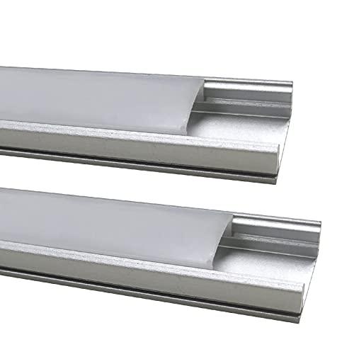 2x Perfil de Aluminio 1m LED para Tiras del LED con Cubierta Blanca Lechosa. Los tapones de los extremos y los clips de montaje de metal están incluidos en el Pack.