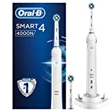 Oral-B Smart 4 4000N CrossAction Electric Toothbrush Rechargeable, 1 App Connected Handle, 3 Modes with Whitening, Pressure Sensor, 2 Toothbrush Heads, 2 Pin UK Plug, Gift for Men/Women