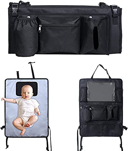 Lictin Cambiador Portátil Bebé- 3 en 1 Cambiador Portátil de Pañales para Bebé Cambiador Portatil Impermeable Plegable Kit Cambiador de Viaje con Ocho Bolsillos para Bebes Recien Nacidos