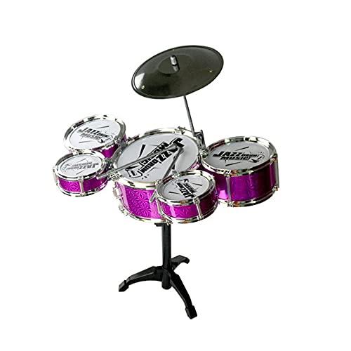Tree-es-Life Juguete de Instrumentos Musicales para niños, Kit de batería de Jazz de simulación de 5 Tambores con Baquetas, Juguete Musical Educativo para niños, al Azar