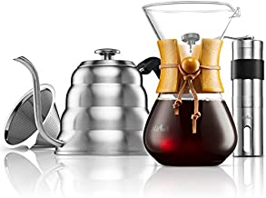 MITBAK Pour Over Coffee Maker Set | Kit Includes 40 OZ Gooseneck Kettle with Thermometer, Coffee Mill Grinder & 20 OZ Coffee Dripper Brewer | Great Replacement for Coffee Machines | Excellent Coffee Gift
