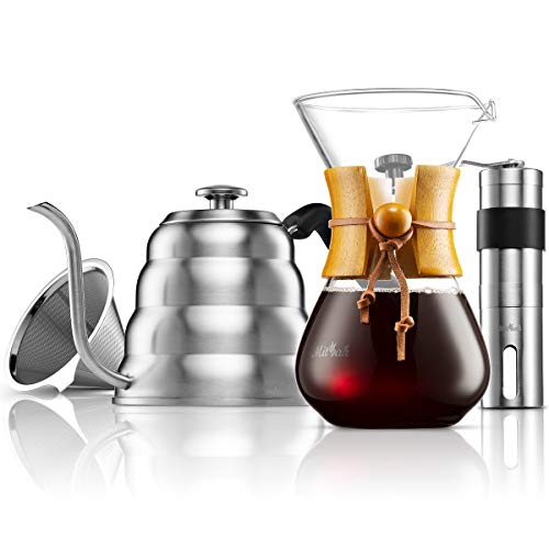 MITBAK Pour Over Coffee Maker Set   Kit Includes 40 OZ Gooseneck Kettle with Thermometer, Coffee Mill Grinder & 20 OZ Coffee Dripper Brewer   Great Replacement for Coffee Machines