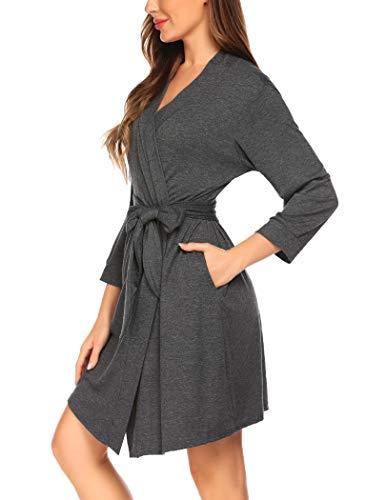 Sheshow Women's Jersey Robe Cotton Knee Length Bathrobes Short Robes Lightweight Soft Loungewear Grey M