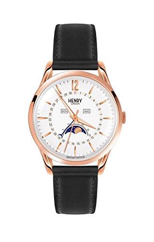 Henry London Unisex Mondphase Quarz Uhr mit Leder Armband HL39-LS-0150