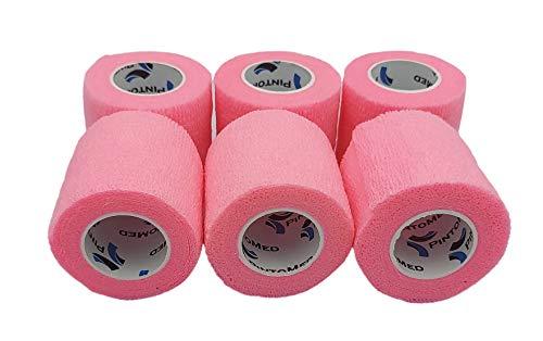 Kohäsive Bandage Pinke Farbe gedehnt 6 Rollen x 5 cm x 4,5 m selbstklebend Flexible, professionelle Qualität, erste Hilfe Sport Wrap Verbände, 6 Stück