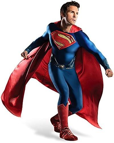 Superman Man of Steel Deluxe Film Kostüm Herren 4-tlg Jumpsuit Cape Gürtel Stulpen DC Comics - XL