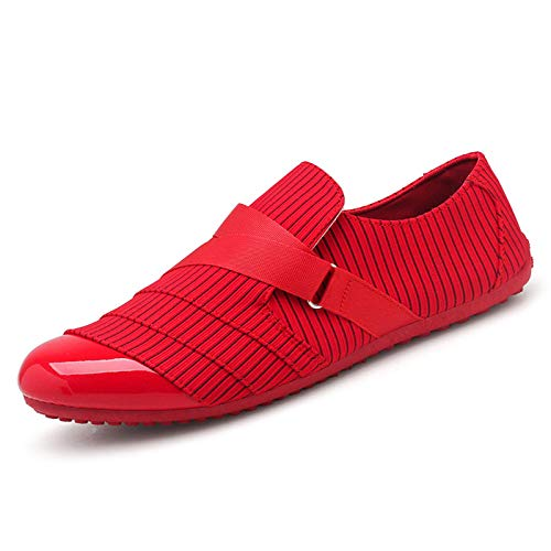 BAQI Männer 2020 Neue Art und Weise Walking-Schuhe Loafers Schuhe Herbst Freizeit Slip-On Herren Freizeitschuhe Mode Faule Skate Schuhe,Rot,42
