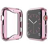 Yolin [2-Stück] All-Aro& TPU Bildschirmschutz Kompatibel mit Apple Watch Series 3 38mm, Superdünne Weiche Schutzhülle für iwatch 38mm (1 Roségold + 1 Transparent)