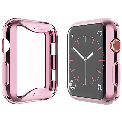 YoLin [2-Pack] All-around TPU Screen Protector Compatible with Apple Watch Series 3 42mm, Soft Protective Case For iwatch 42mm (1 Rose-Pink + 1 Transparent)