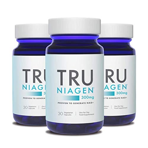 TRU NIAGEN Nicotinamide Riboside Chloride - Patented NAD Booster for Reduction of Tiredness & Fatigue, 300mg Per Vegetarian Capsules - 30 Count (3 Month)