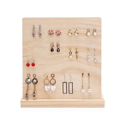 Soporte de embalaje de joyería de anillo de oreja de tablero de madera de 120 ranuras desmontable, soporte de columna cuadrada de madera maciza, base uniforme de patrón de orificio redondo es estable