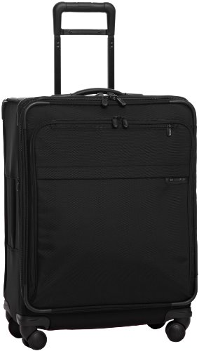 Briggs & Riley Baseline-Expandable Softside Medium Checked Spinner Luggage, Black, 25-Inch