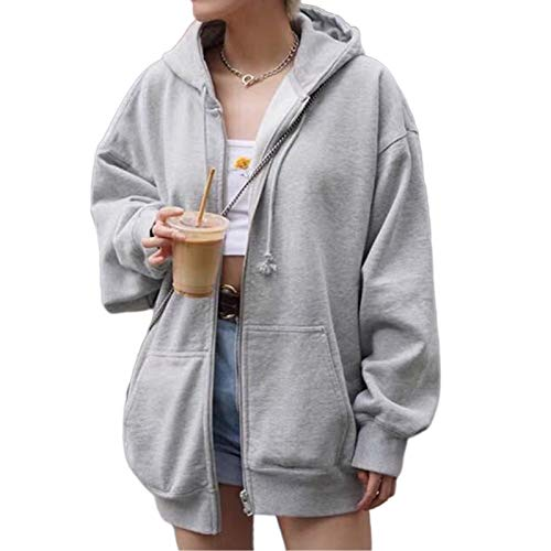 Women Vintage 90s Solid Zipper Front Oversized Long Sleeve Brown Sweatshirts Hoodies with Pockets