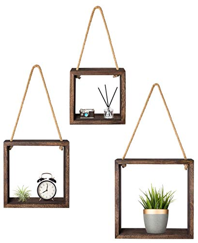 Mkouo Hängende quadratische schwimmende Regale Wall Mounted Cube Regal Rustikale Schattenkästen Decorative Storage Organizer for Home Office Coffee Shop, 3er Set, Braun