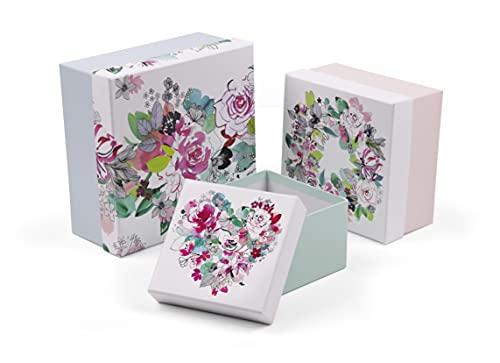Clairefontaine 115577C - Un Lot de 3 Boites de Rangement Gigognes Carrées Multifonctions en Carton motif Floral - 3 Formats 25 x 25 x 12 cm, 20 x 20 x 11 cm et 16 x 16 x 10 cm - Collection Blooming