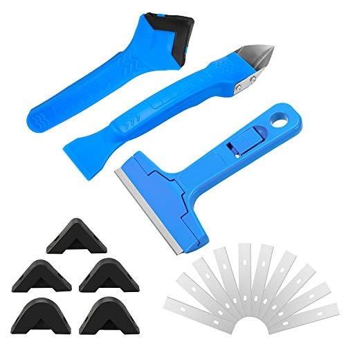 Qkurt Silikonentferner & Silikon Fugenwerkzeug, Silikon-Entferner Schaber für Badezimmer Küchenarbeitsplatte Waschbecken Boden