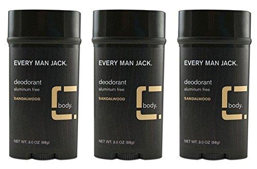 Every Man Jack Deodorant Stick Sandalwood 3 Ounce (Pack Of 3)