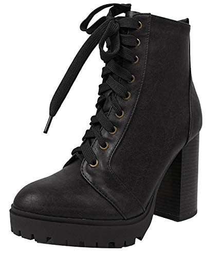 SODA Women's Military Combat Lace Up Lug Platform Chunky Block Heel Ankle Boot,B/Black,7.5