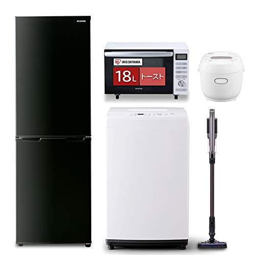 【新生活5点セット買い】アイリスオーヤマ洗濯機8kg+冷蔵庫162L+全国対応オーブンレンジ18L+炊飯器3合+スティッククリーナー