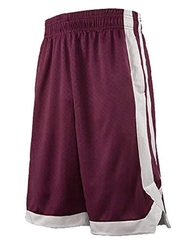TopTie Herren Sport Shorts, Basketball Trainingsshorts Kurze Sporthose mit Taschen-Dunkelrot-L