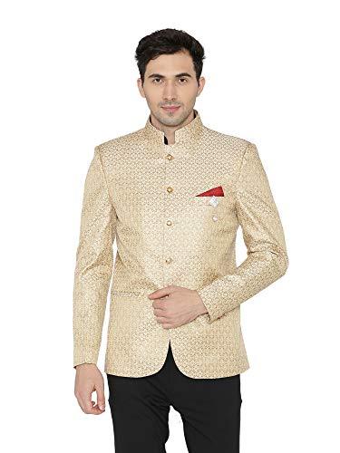 WINTAGE Men's Banarsi Rayon Cotton Casual and Festive Indian Jodhpuri Grandad Bandhgala Blazer : Gold, X-Large