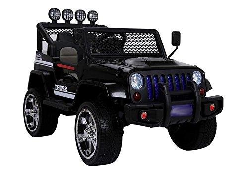 Coche Electrico para Niños Auto Alimentado con Batería Vehículo Eléctrico Control Remoto - S2388 Jeep - Negro