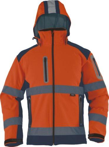 TRIUSO wasserabweisende Warnschutzsoftshelljacke mit heraustrennbarer Kapuze in orange VW177OS in Größe XXXL