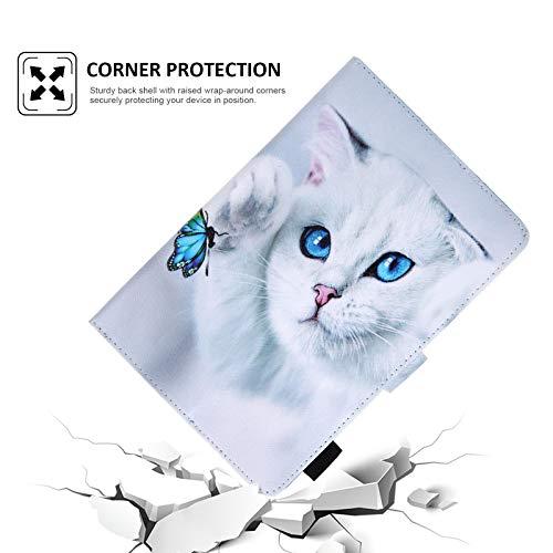 Dteck Universal-Schutzhülle, dünn, leicht, Leder, Brieftaschenformat für HD 10, Samsung Galaxy Tab/Lenovo Tab/Onn/Android Tablet 9.6 9.7 10 10.1 10.2 10.3 10.4 10.5 Zoll (Katze & Schmetterling)