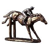 Gpzj Estatua Saltando Escultura de Bronce de Carreras de Caballos, Figura de Jinete, Adornos de Carrera de Galope, Figura de Carreras de Caballos de Bronce Fundido en frío