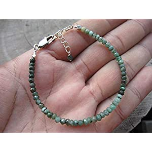Raw Emerald Beaded Bracelet 925 Sterling Silver chain
