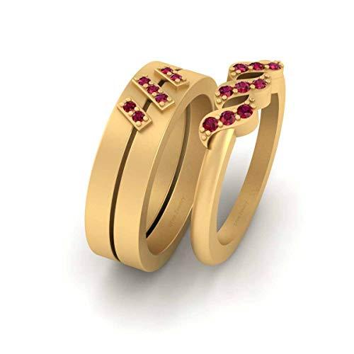 Anillo de oro amarillo Fn 925 de 0,20 quilates de diamantes rosados para él y su aniversario, anillo de anillo a juego