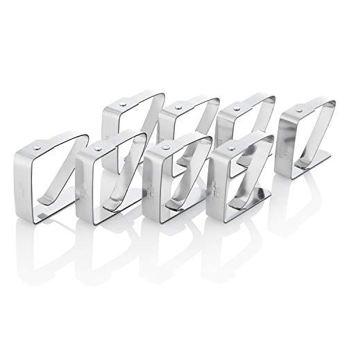 Kerafactum 8 STÜCK Tischtuch Klammer Tischdeckenklammer Tischtuchklammer aus Edelstahl Klammer zum Befestigen der Tischdecke Deckenklammer Tuchklammer Klemme Klemmen Silber 5 x 4 cm
