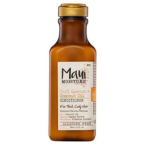 Maui Moisture Curl Quench + Coconut Oil Curl-Defining Anti-Frizz Conditioner to Hydrate and Detangle Tight Curly Hair, Softening Conditioner, Vegan, Silicone & Paraben-Free, 13 fl oz