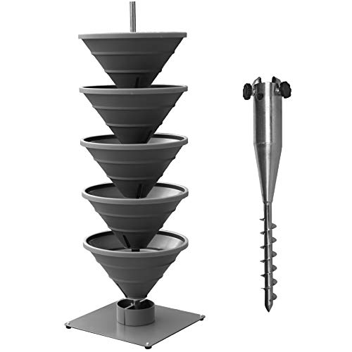 bluegreenshop.de Vertical Garden XL Turm-Hochbeet/Pflanzturm mit Boden-EINDREHHÜLSE für Freiland-Montag (Grau)