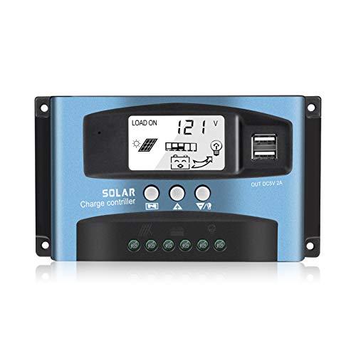 Regulador de carga solar, driver de carga solar MPPT con chip maestro de nivel industrial y visualización LCD grande, gestión de...
