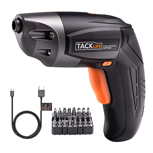 pequeñas Destornillador inalámbrico TACKLIFE SDP70DC, máximo Torque 3 Nm, 3.6 V, mini taladro, 2.0 Ah, destornillador inalámbrico, barra de carga USB, LED, 32 chips, mueble, soporte de pared