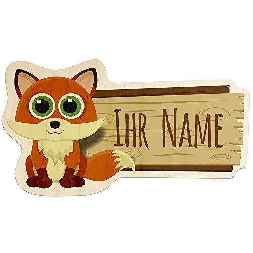 printplanet - Türschild aus Holz mit eigenem Text oder Namen - Namensschild, Holzschild, Kinderzimmer-Schild - Motiv Fuchs