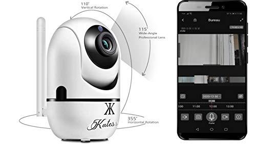 Camera Surveillance WiFi & ethernet HD 1080p Camera sans Fil Espion babyphone Video Vision Nocturne detecteur de Mouvement Face Tracking Enregistrement et Vision Direct